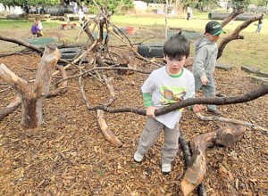 Burlington Little School students Jackson Avey (left) and Iver Light, both 4, play in one of the school's natural activity areas. Photo by Frank Varga